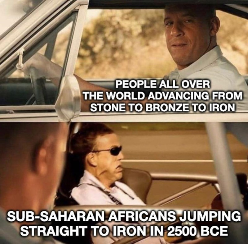 Photograph - PEOPLE ALL OVER THE WORLD ADVANCING FROM STONE TO BRONZE TO IRON SUB-SAHARAN AFRICANS JUMPING STRAIGHT TO IRON IN 2500 BCE