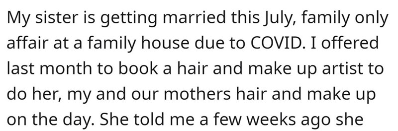 Font - My sister is getting married this July, family only affair at a family house due to COVID. I offered last month to book a hair and make up artist to do her, my and our mothers hair and make up on the day. She told me a few weeks ago she