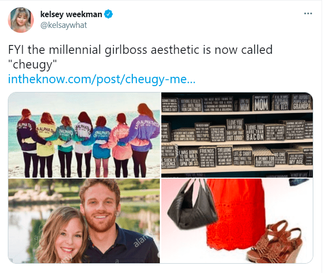 """Smile - kelsey weekman @kelsaywhat FYI the millennial girlboss aesthetic is now called """"cheugy"""" intheknow.com/post/cheugy-me... IM BET IN LTO s C N CINTIN 2 ut SINN MOM MT HAVORITE PPE CAL THE BEST GRANDPA PHA AALPHA HA OALPHA KAIMI ENS UN IR S OVE YOU IHIA STE OM REV w BAY ME T LOVE YOU v E PER M OUT LOUD? BACON C RO SAT CI WAS BORN FRIENDS SMEARING LIFES SHORT TO BE WILD SUCH AT N FUENCE 9PM OR SO E MEWILE SILLHAVE TEETHI TeTS YE O ONE A PENNY FOR MY AGE alam"""