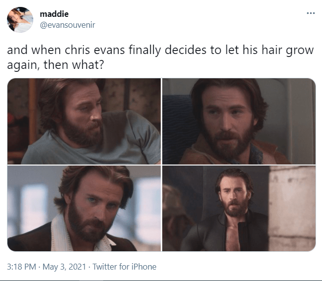 Face - maddie ... @evansouvenir and when chris evans finally decides to let his hair grow again, then what? 3:18 PM · May 3, 2021 · Twitter for iPhone