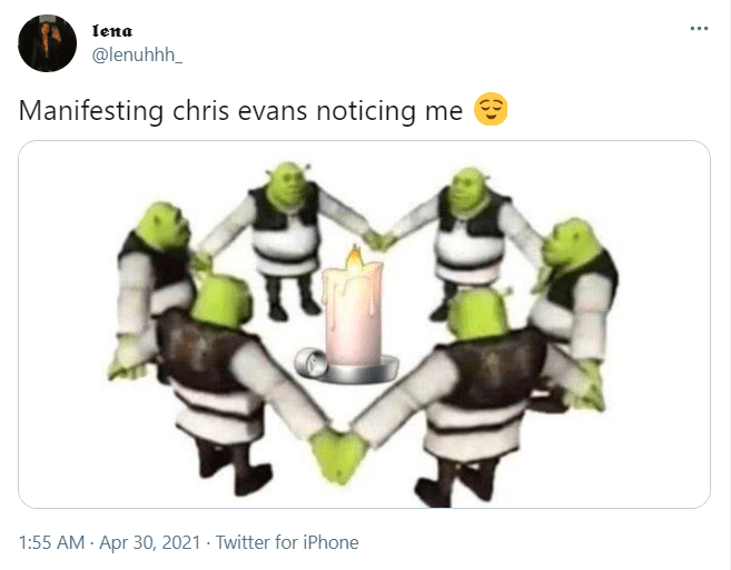 Organism - Iena @lenuhhh_ Manifesting chris evans noticing me e 1:55 AM - Apr 30, 2021 - Twitter for iPhone
