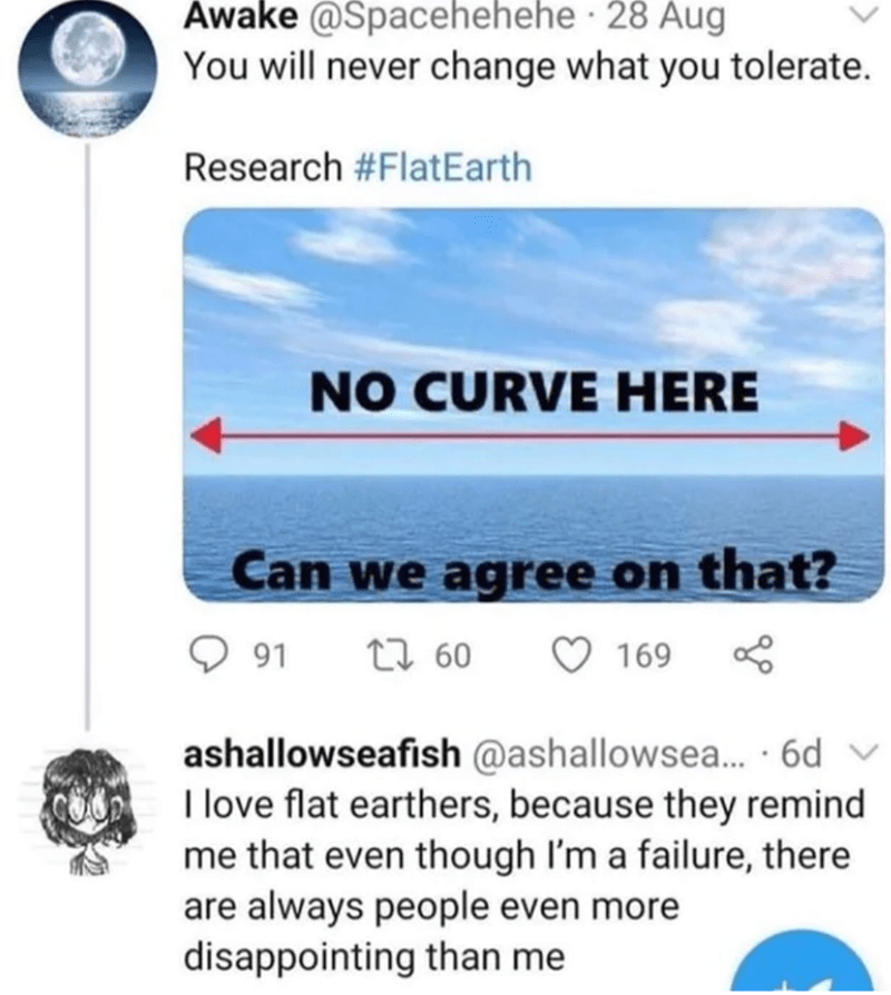 Product - Awake @Spacehehehe · 28 Aug You will never change what you tolerate. Research #FlatEarth NO CURVE HERE Can we agree on that? 91 27 60 O 169 S ashallowseafish @ashallowsea.. · 6d v I love flat earthers, because they remind me that even though I'm a failure, there are always people even more disappointing than me
