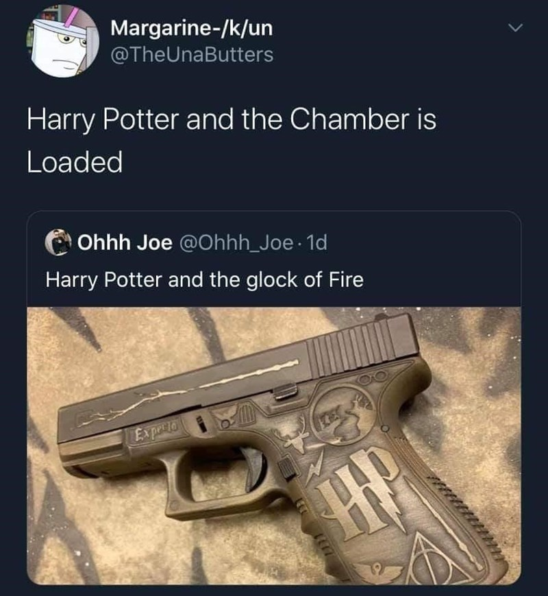 Product - Margarine-/k/un @TheUnaButters Harry Potter and the Chamber is Loaded Ohhh Joe @Ohhh_Joe 1d Harry Potter and the glock of Fire Ex perio 1117