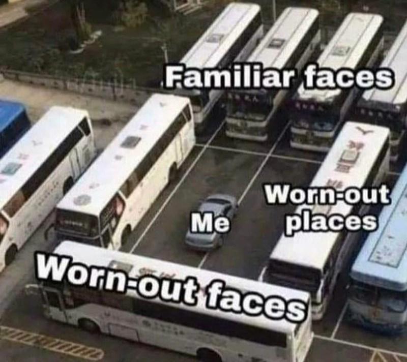 Bus - Familiar faces Worn-out places Me Worn-out faces