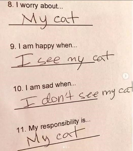 Handwriting - 8. I worry about... My cat 9. I am happy when... I see my cot 10. I am sad when... I don't see my cat 11. My responsibility is... My caf cat