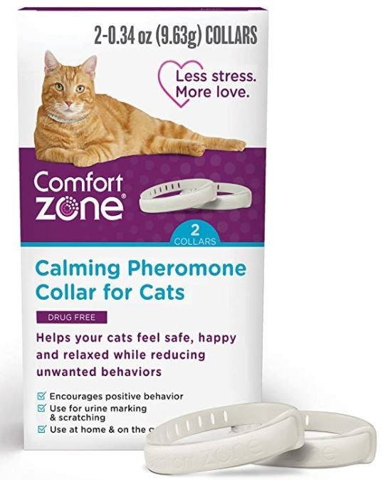 Cat - 2-0.34 oz (9.63g) COLLARS Less stress. More love. Comfort Zöne 2 COLLARS Calming Pheromone Collar for Cats DRUG FREE Helps your cats feel safe, happy and relaxed while reducing unwanted behaviors E Encourages positive behavior 8 Use for urine marking & scratching K Use at home & on the c