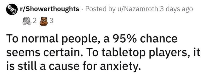 Font - r/Showerthoughts - Posted by u/Nazamroth 3 days ago の23 To normal people, a 95% chance seems certain. To tabletop players, it is still a cause for anxiety.