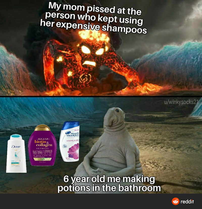 World - My mom pissed at the person who kept using her expensive shampoos u/winkysocks21 shotcES thick & full + biotin & collagen mooth A silk Dove SHAMPOO Au i id vi Vitamin biutin ellagen, ni ndrolvred wheat protein see 6 year old me making potions in the bathroom O reddit
