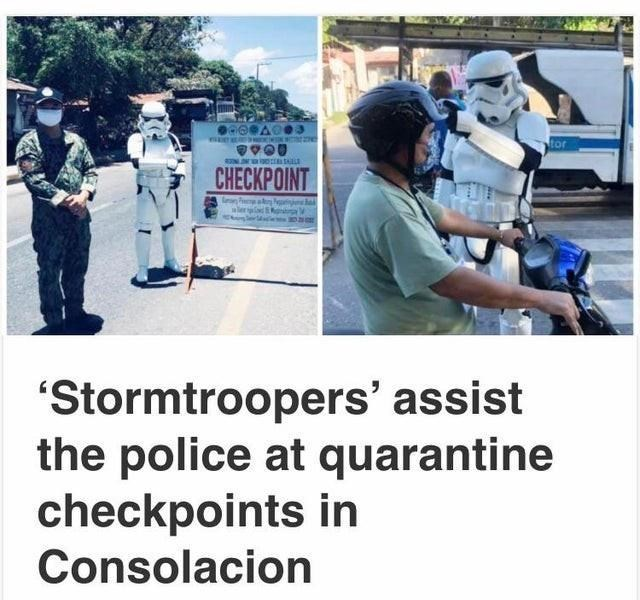 """Motor vehicle - REAFFHECWN e CHECKPOINT """"Stormtroopers' assist the police at quarantine checkpoints in Consolacion"""