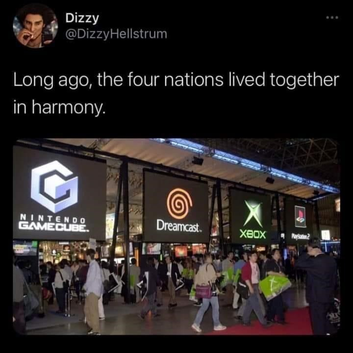 World - Dizzy @DizzyHellstrum Long ago, the four nations lived together in harmony. NINTEND 0 GAMECUBE. Dreamcast. XBOX