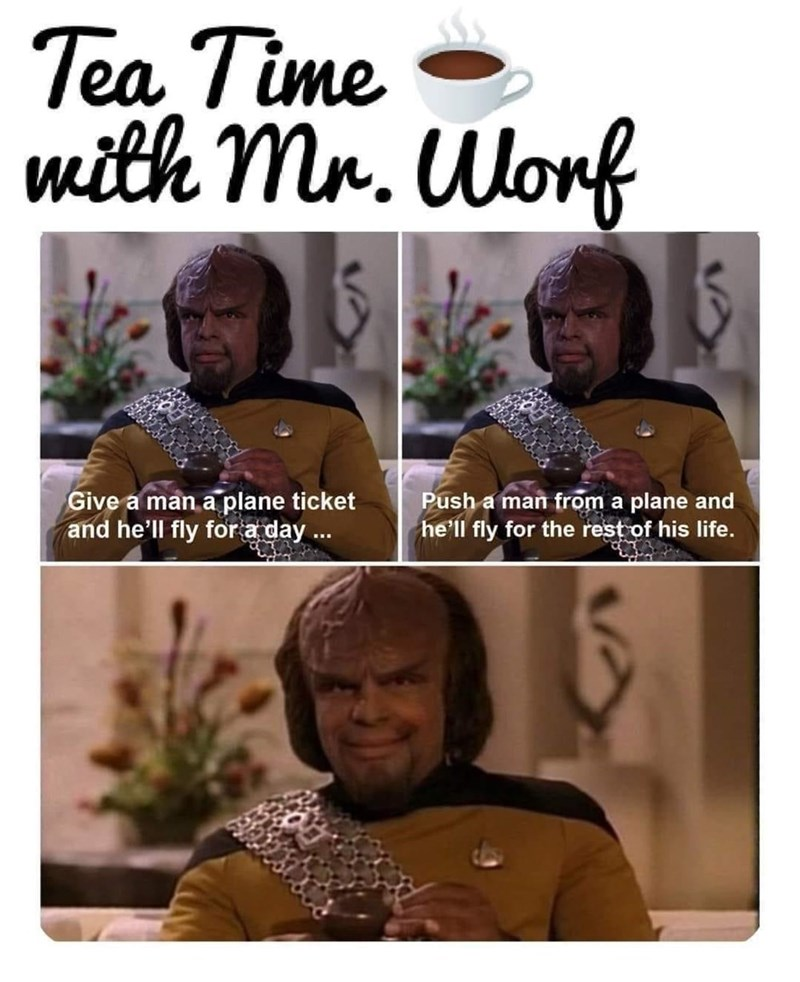 Hairstyle - Tea Time mith Mr. Worf Give a man a plane ticket and he'll fly for a day . Push a man from a plane and he'll fly for the rest of his life.