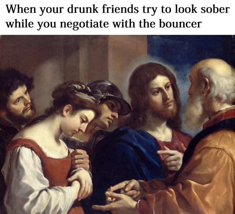 Facial expression - When drunk friends try to look sober while you negotiate with the bouncer your