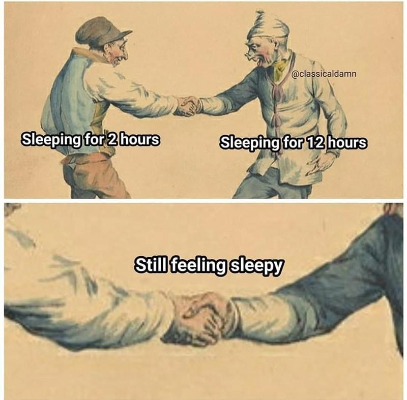 Handshake - @classicaldamn Sleeping for 2 hours Sleeping for 12 hours Still feeling sleepy