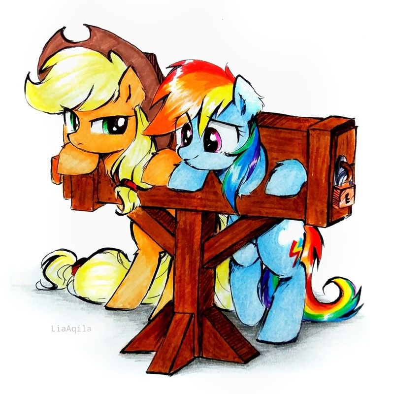 applejack rainbow dash lia aqila - 9610091008