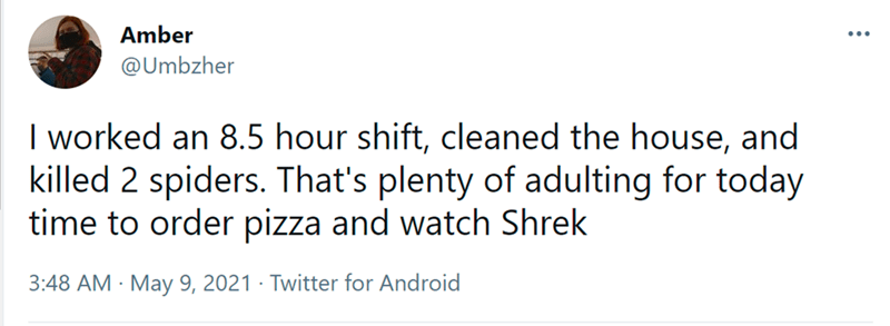 Font - Amber ... @Umbzher I worked an 8.5 hour shift, cleaned the house, and killed 2 spiders. That's plenty of adulting for today time to order pizza and watch Shrek 3:48 AM · May 9, 2021 · Twitter for Android