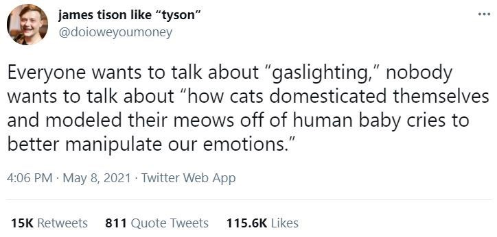 """Font - james tison like """"tyson"""" @doioweyoumoney ... Everyone wants to talk about """"gaslighting,"""" nobody wants to talk about """"how cats domesticated themselves and modeled their meows off of human baby cries to better manipulate our emotions."""" 4:06 PM · May 8, 2021 Twitter Web App 15K Retweets 811 Quote Tweets 115.6K Likes"""