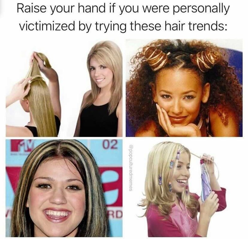 Face - Raise your hand if you were personally victimized by trying these hair trends: 02 RD @popculturedmemes