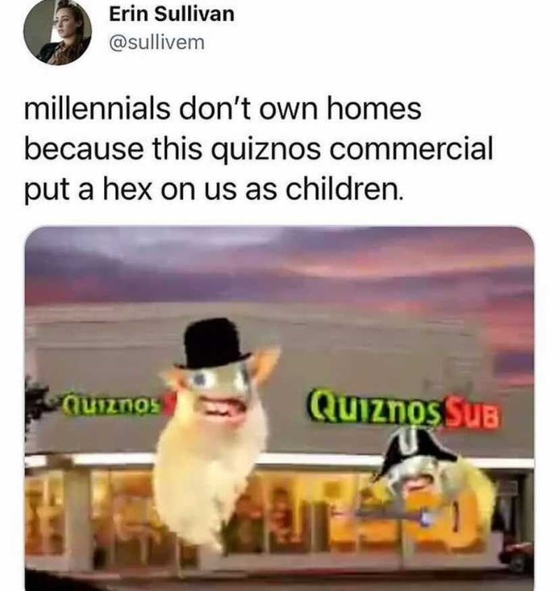 Product - Erin Sullivan @sullivem millennials don't own homes because this quiznos commercial put a hex on us as children. quznos QUIznos SUB