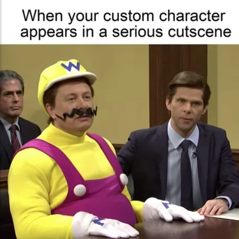 Gesture - When your custom character appears in a serious cutscene