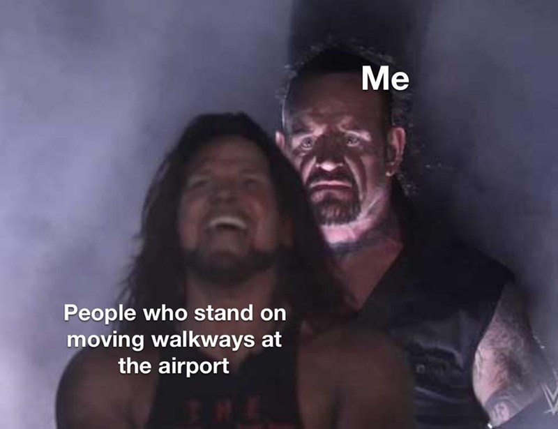 Flash photography - Me People who stand on moving walkways at the airport