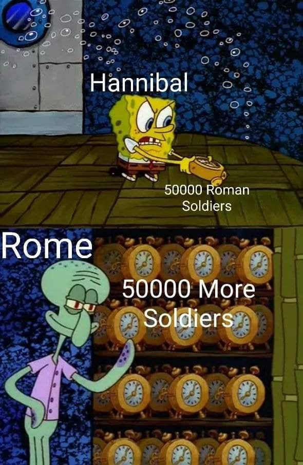 Cartoon - o 0g Hannibal 50000 Roman Soldiers Rome 50000 More Soldiers