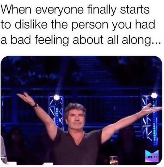Font - When everyone finally starts to dislike the person you had a bad feeling about all along... MEMES
