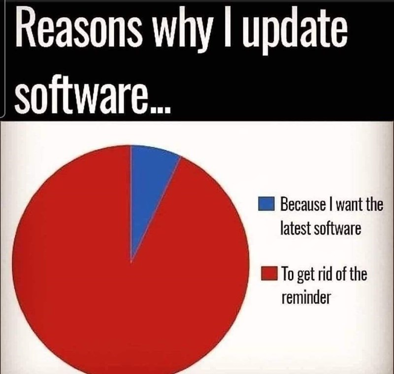 Font - Reasons why I update software. Because I want the latest software To get rid of the reminder