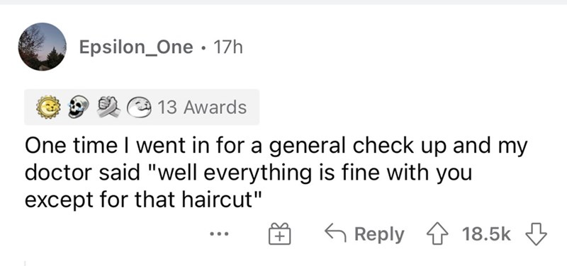 """Rectangle - Epsilon_One · 17h 13 Awards One time I went in for a general check up and my doctor said """"well everything is fine with you except for that haircut"""" 6 Reply 1 18.5k 3 ..."""