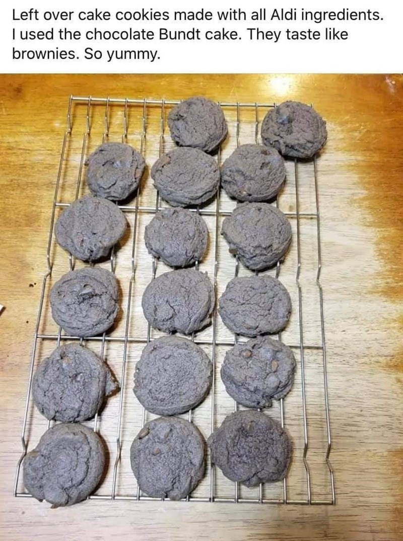 Food - Left over cake cookies made with all Aldi ingredients. I used the chocolate Bundt cake. They taste like brownies. So yummy.