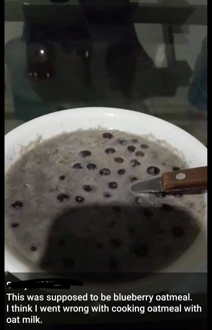 Liquid - This was supposed to be blueberry oatmeal. I think I went wrong with cooking oatmeal with oat milk.
