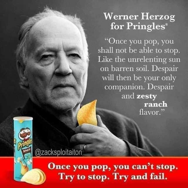 """Facial expression - Werner Herzog for Pringles """"Once you pop, you shall not be able to stop. Like the unrelenting sun on barren soil. Despair will then be your only companion. Despair and zesty ranch flavor."""" Pringle @zacksploitaiton RANCH Once you pop, you can't stop. Try to stop. Try and fail."""