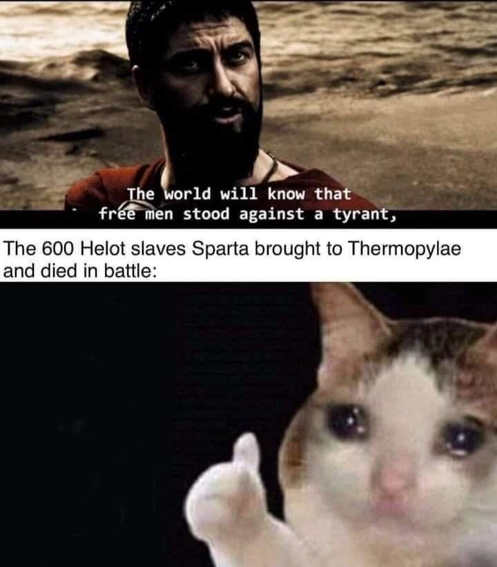 Cat - The world will know that free men stood against a tyrant, The 600 Helot slaves Sparta brought to Thermopylae and died in battle: