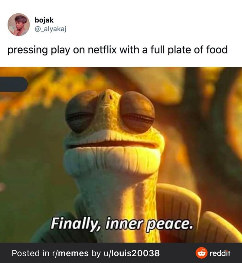 Organism - bojak @_alyakaj pressing play on netflix with a full plate of food Finally, inner peace. Posted in r/memes by u/louis20038 reddit