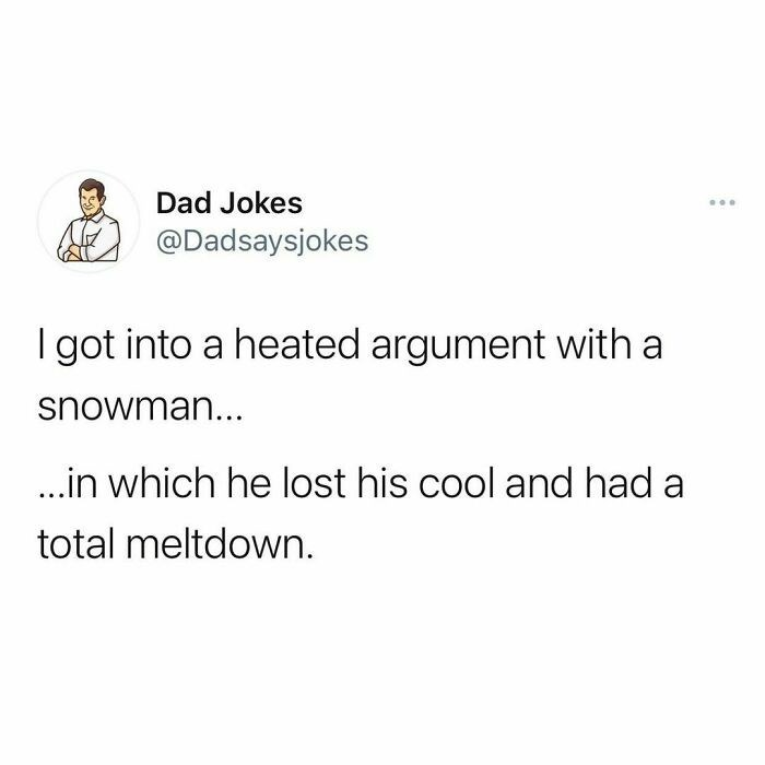 Font - Dad Jokes ... @Dadsaysjokes I got into a heated argument with a snowman... .in which he lost his cool and had a total meltdown.