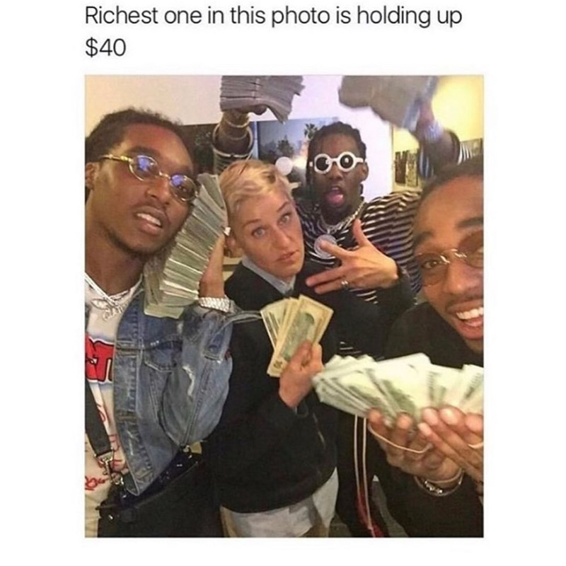 Glasses - Richest one in this photo is holding up $40