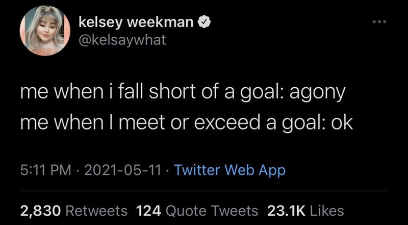 Organism - kelsey weekman O @kelsaywhat me when i fall short of a goal: agony me when I meet or exceeda goal: ok 5:11 PM · 2021-05-11 · Twitter Web App 2,830 Retweets 124 Quote Tweets 23.1K Likes