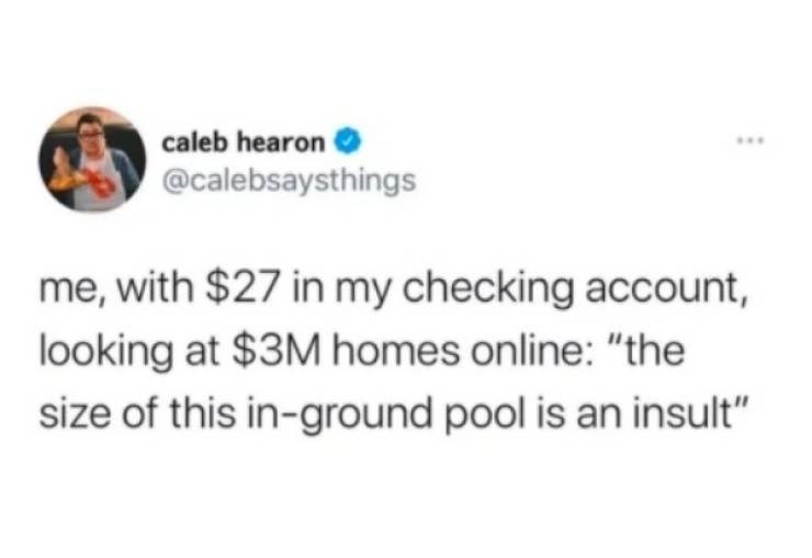 """Rectangle - caleb hearon ... @calebsaysthings me, with $27 in my checking account, looking at $3M homes online: """"the size of this in-ground pool is an insult"""""""