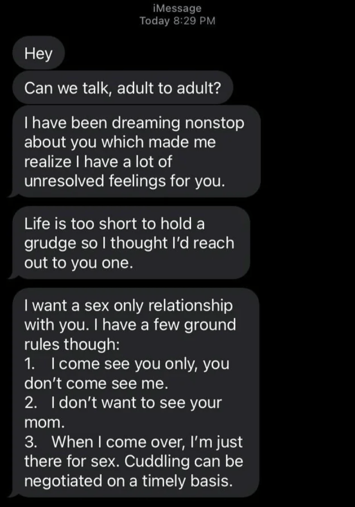 Font - iMessage Today 8:29 PM Неу Can we talk, adult to adult? I have been dreaming nonstop about you which made me realize I have a lot of unresolved feelings for you.   Life is too short to hold a grudge so I thought l'd reach out to you one. I want a sex only relationship with you. I have a few ground rules though: 1. Icome see you only, you don't come see me. 2. I don't want to see your mom. 3. When I come over, l'm just there for sex. Cuddling can be negotiated on a timely basis.