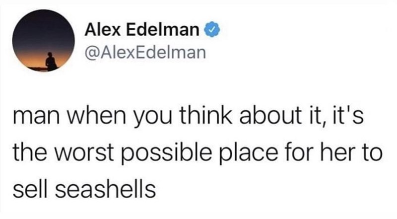 Font - Alex Edelman O @AlexEdelman man when you think about it, it's the worst possible place for her to sell seashells