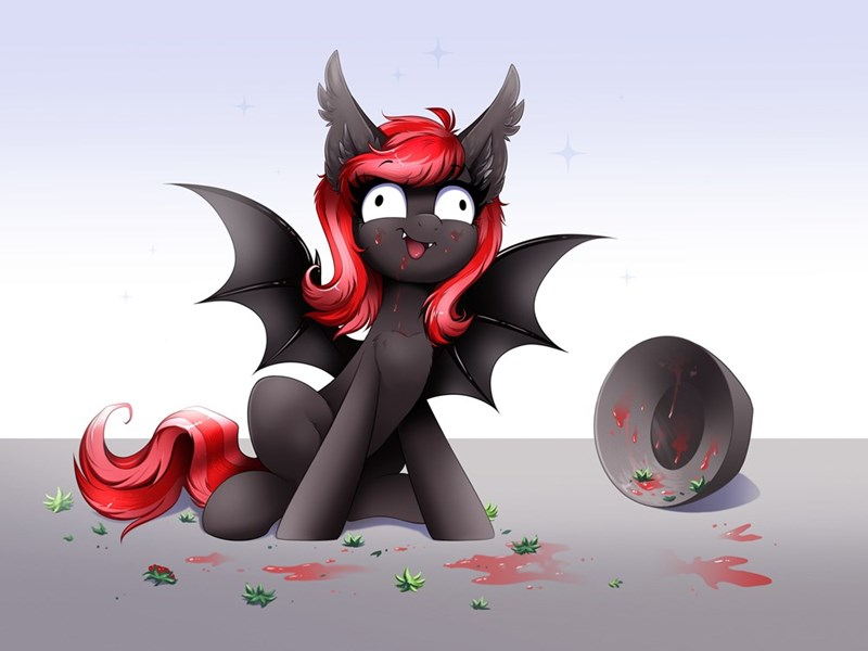 bat pony OC raven sun art strawberry stylus - 9611262720