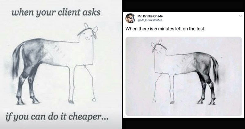 Funny dank meme entitled 'Unfinished Horse Drawing'