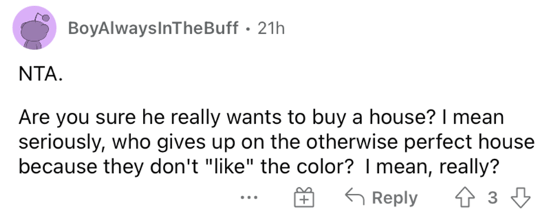 """Rectangle - BoyAlwaysInTheBuff · 21h NTA. Are you sure he really wants to buy a house? I mean seriously, who gives up on the otherwise perfect house because they don't """"like"""" the color? I mean, really? G Reply ..."""