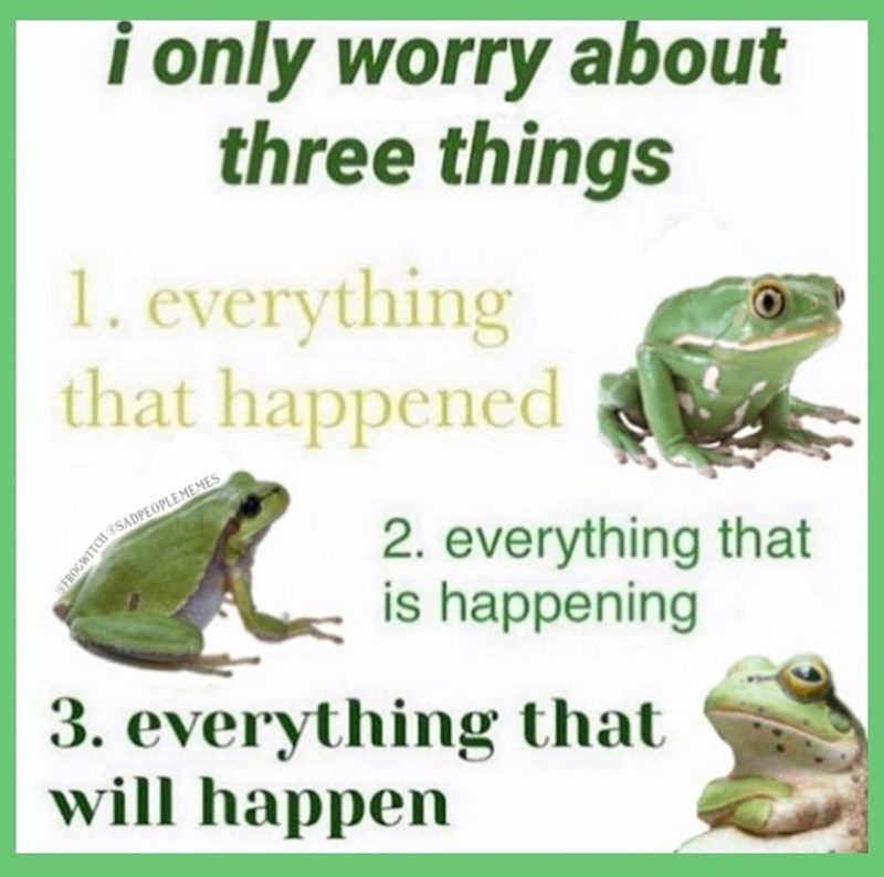 Frog - i only worry about three things 1. everything that happened 2. everything that is happening aoGWITCH SADPEOPLEMEMES 3. everything that will happen