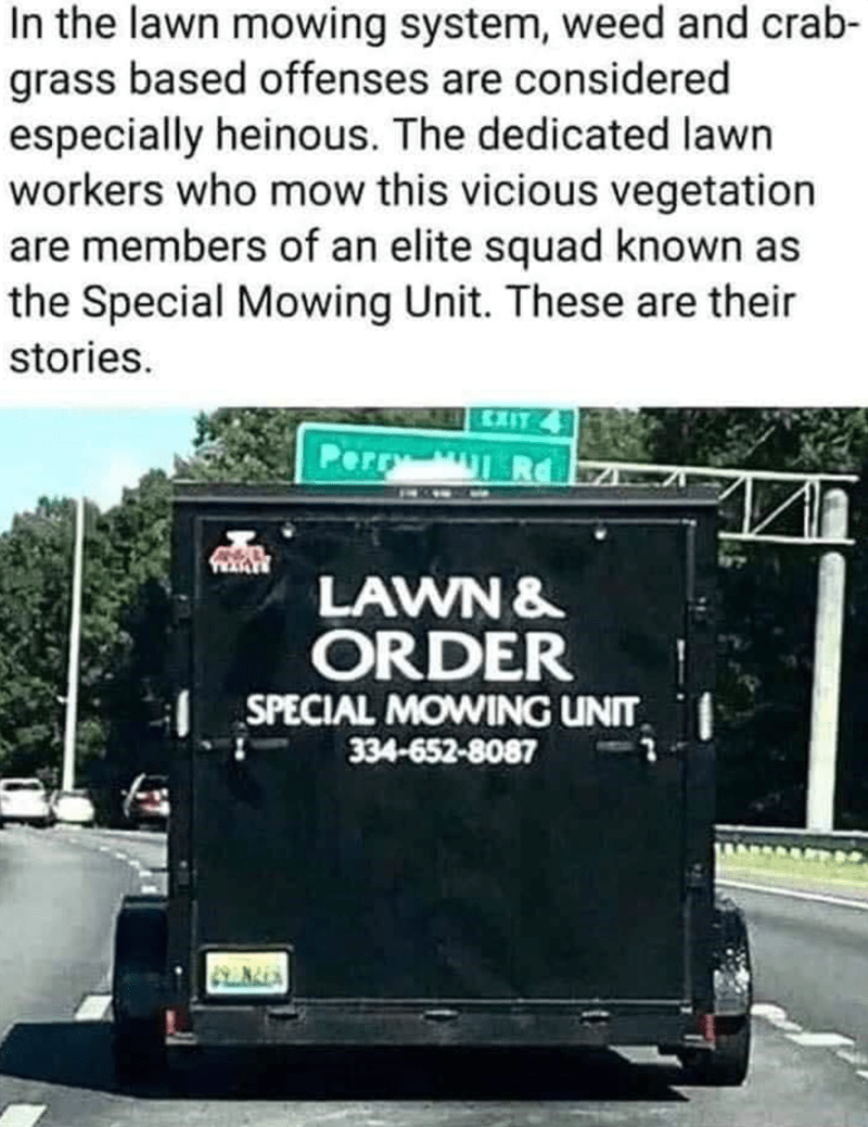 Motor vehicle - In the lawn mowing system, weed and crab- grass based offenses are considered especially heinous. The dedicated lawn workers who mow this vicious vegetation are members of an elite squad known as the Special Mowing Unit. These are their stories. Perry LAWN & ORDER SPECIAL MOWING UNIT 334-652-8087