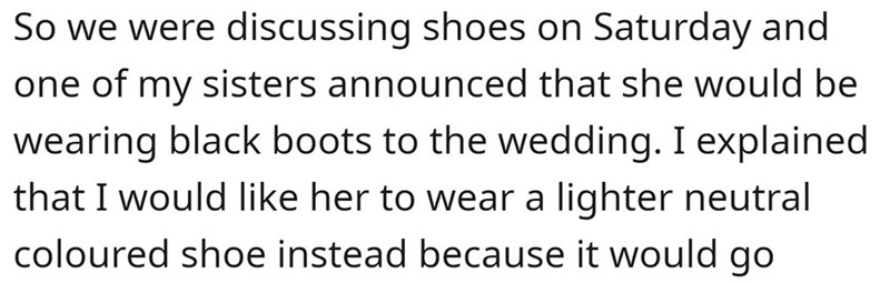 Font - So we were discussing shoes on Saturday and one of my sisters announced that she would be wearing black boots to the wedding. I explained that I would like her to wear a lighter neutral coloured shoe instead because it would go