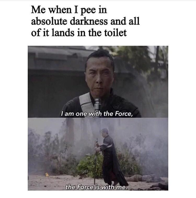 Outerwear - Me when I pee in absolute darkness and all of it lands in the toilet I am one with the Force, the Force is with me.