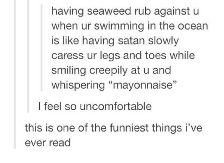 """Font - having seaweed rub against u when ur swimming in the ocean is like having satan slowly caress ur legs and toes while smiling creepily at u and whispering """"mayonnaise"""" I feel so uncomfortable this is one of the funniest things i've ever read"""