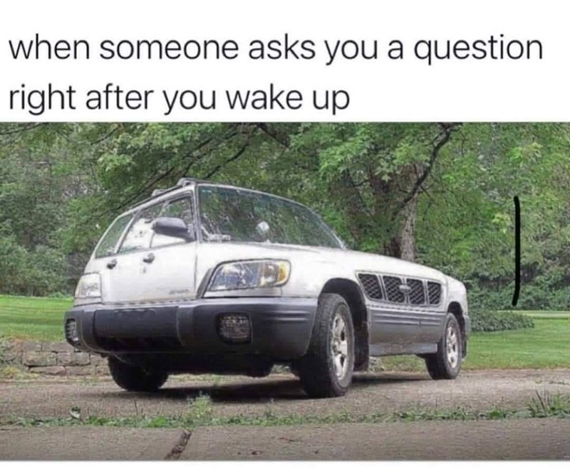 Automotive parking light - when someone asks you a question right after you wake up