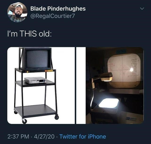 Product - Blade Pinderhughes @RegalCourtier7 I'm THIS old: 2:37 PM · 4/27/20 Twitter for iPhone