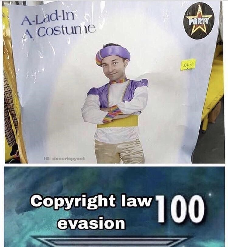 Product - A-Lad-In A COstunne PARTT $34.90 IG: riceorispyeet Copyright law 100 evasion